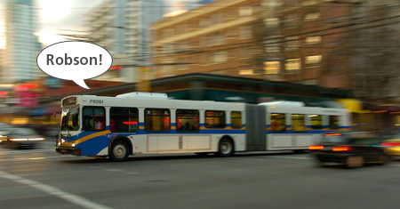A stop announcement from the 98 B-Line, illustrated!