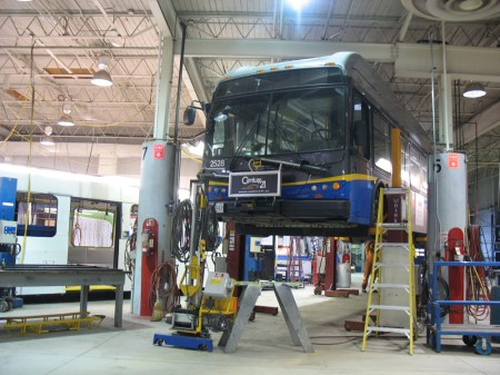 This articulated bus also got rear-ended, and had some big scrapes on the side.