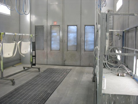The back end of the articulated bus paint booth. As you can tell, there's some extra room because the Blue Bus is a conventional bus length.
