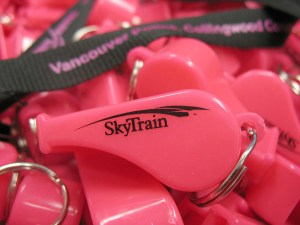 The pink safety whistles from our Whistle Blower campaign -- they are available at Collingwood Community Policing Centre, at 5160 Joyce St in Vancouver.