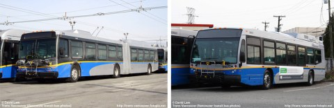 A hybrid New Flyer articulated bus (left) and a hybrid Nova bus (right) are in town for evaluations right now.
