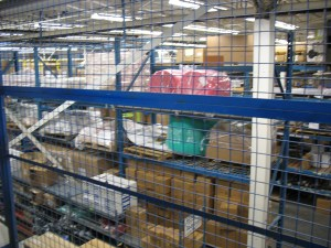 A glimpse of the warehouse space at Fleet Overhaul. Sorry for the out-of-focus-ness of the photo!