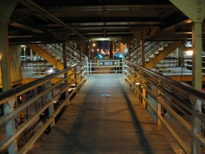 Wooden walkways at a Chicago elevated train station.