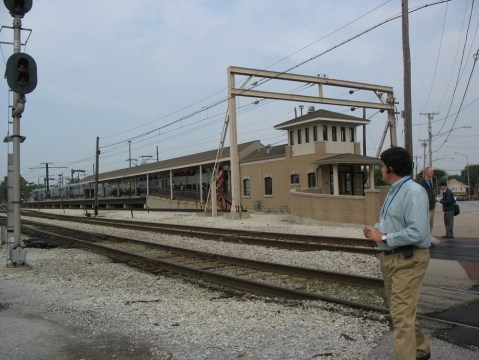 Vermont Street/Blue Island Station, where the Metra Electric train dropped us off. (See the overhead wiring?) We then walked across the street to the Vermont Street diesel/electric station.