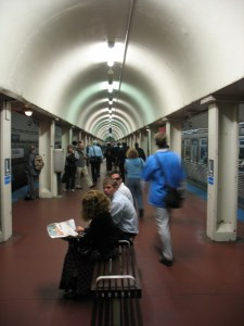 The interior of LaSalle Station on the Blue Line.