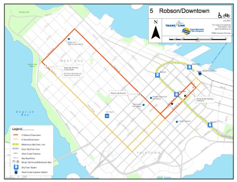 The normal 5 Robson/Downtown route map.