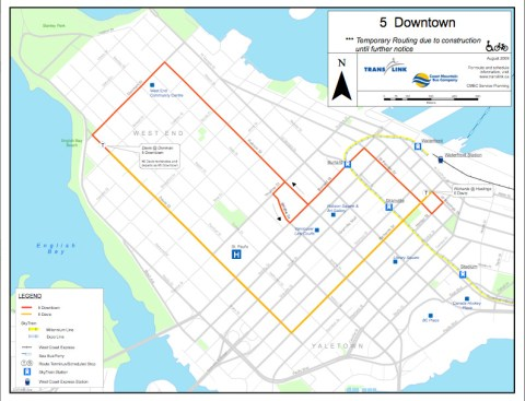 Reroute map for the 5 Robson/Downtown.