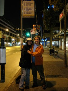 Mike and Annie in front of the 351 sign on Broadway and Granville.