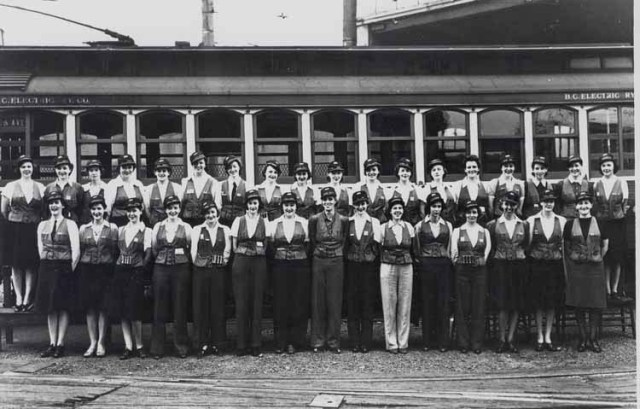 A group of conductorettes after finishing a training course in the 1940s. They were at first issued skirts as part of their uniform, but this image shows the transition to pants. Skirts were difficult to manage when climbing the trolley to reset the poles! Photo courtesy of the Coast Mountain Bus Company Archives.