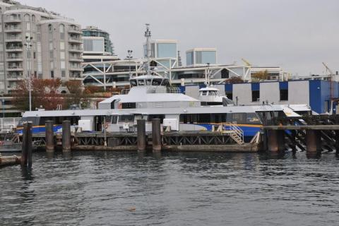 The new SeaBus, docked at the north terminal. Photo by Terry Muirhead.