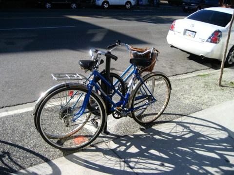One of 135 new bike racks on Main Street.