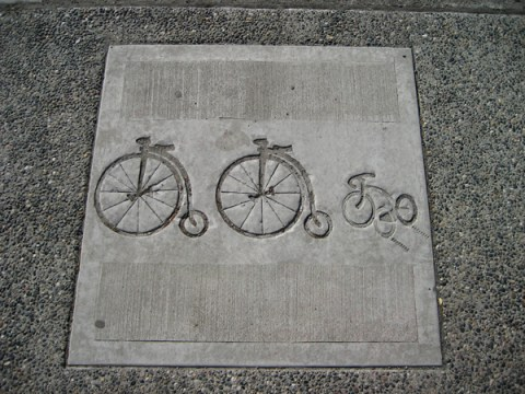 Pavement stamps enhance a sense of place along Main.
