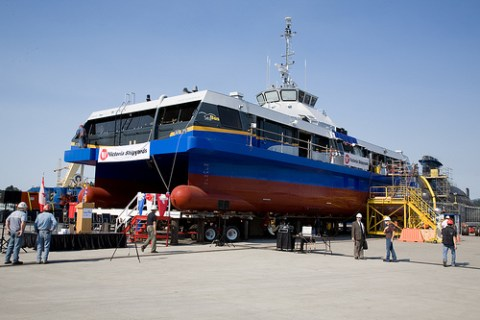 The new SeaBus, the Burrard Pacific Breeze, at its christening ceremony in July.