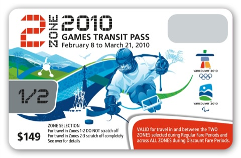 The two-zone Olympic FareCard.