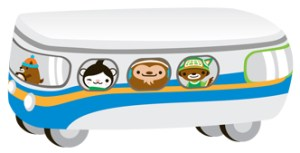 The Olympic mascots ride transit! They're part of our ad campaign encouraging people to explore travel options for the Olympics.