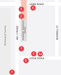 A map of the new bus bays at Richmond-Brighouse Station.