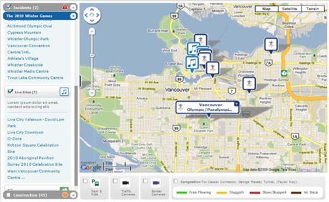 A rough version of the interactive Google map that we will be updating with Games traffic info.