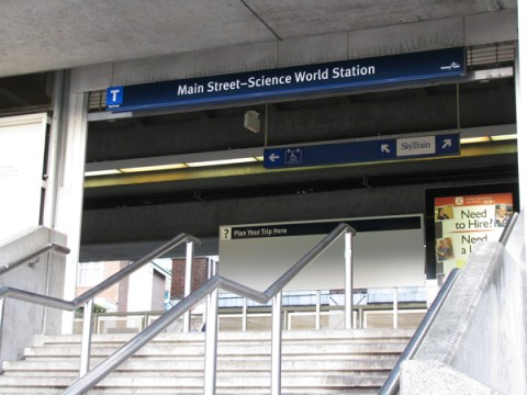 Station entrance signage at Main Street-Science World Station.