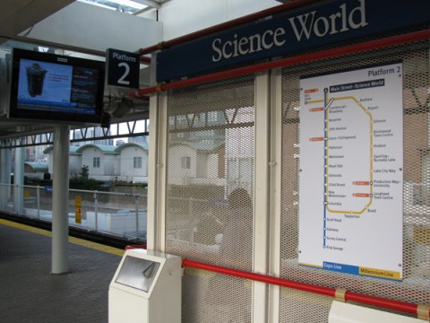 Main Street-Science World also has more new wayfinding signage up on the platform. There's a new line diagram showing upcoming train stations, and a Platform 2 sign on the top-left of this photo.