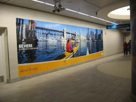 Tourism BC ads are in the Canada Line station at Waterfront.