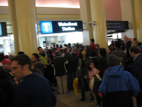 Waterfront Station, filled with people!