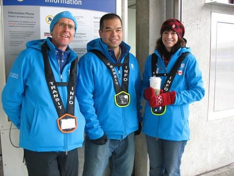 Brian, Gwun, and Ana, transit hosts at King Edward Station.