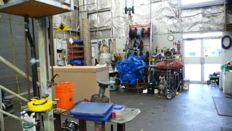 A SeaBus engine in the workshop.