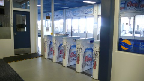 Coors Light ads in the north SeaBus terminal at Lonsdale Quay.