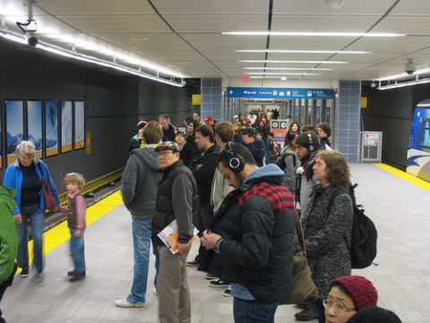 The Waterfront platform at around 1:45 p.m. The train was not super full.