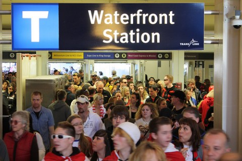 The West Coast Express drops 3,000 passengers into Waterfront Station on Saturday, Feb. 20. Photo by Carol Evans.