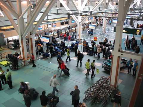An aerial view of the international departures area.