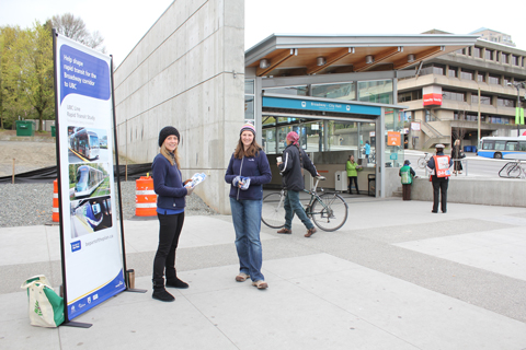 Two TransLink staff were out on the morning of Thursday, April 22, letting people know about the UBC Line consultation.
