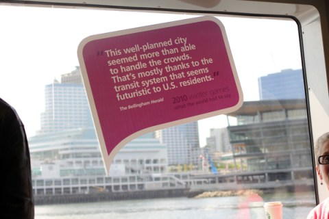 Signs were up all over the SeaBus.