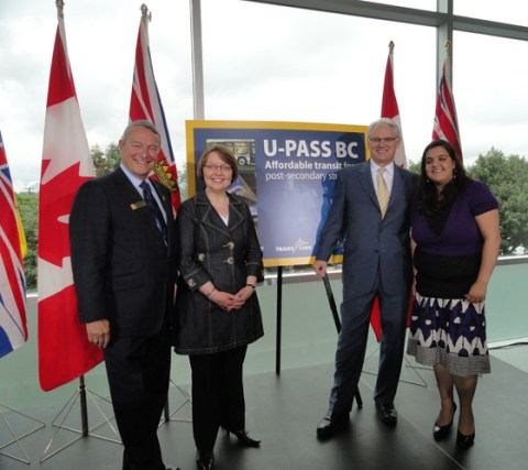 Langley Mayor Peter Fassbender, Minister of Transportation and Infrastructure Shirley Bond, Premier Gordon Campbell, and Nimmi Takkar of the Canadian Federation of Students at the announcement of U-Pass BC. Photo from the <a href=http://www.gov.bc.ca/premier/media_gallery/events/2010/june/upass_bc_to_save_students_on_transit_fares_2010_06_09_50360_a.html>BC Government</a>.