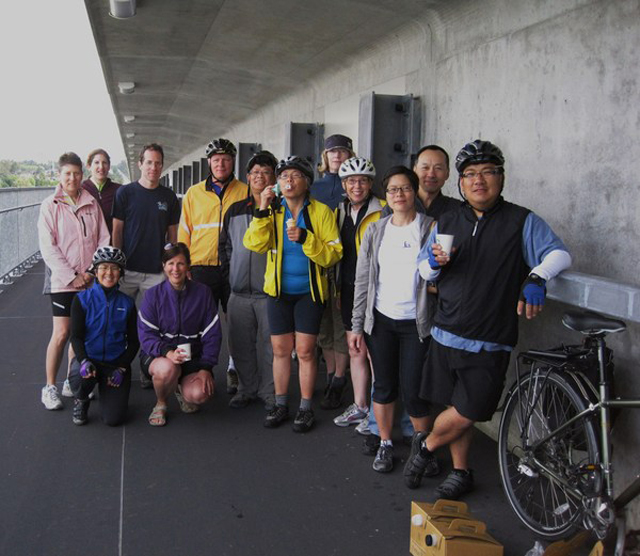 The Vancouver Bicycle Meetup Group on the Canada Line Bridge