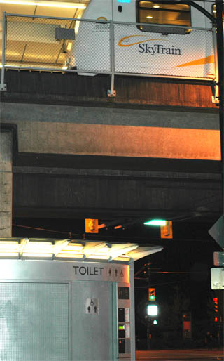 The public toilet outside of the Main Street SkyTrain Station