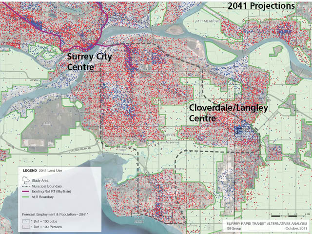 Projected land use south of the Fraser River in 2041