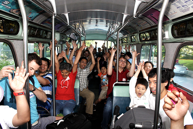 A vintage bus full of I Love Transit fans in 2012!