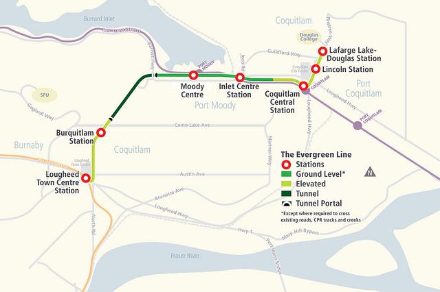 Evergreen Line map