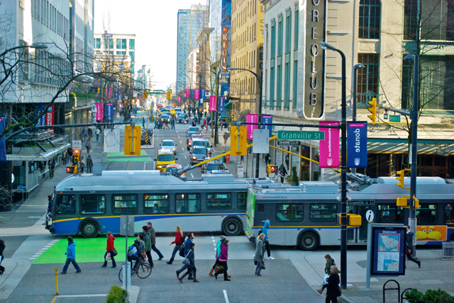 Trolley buses in downtown Vancouver.