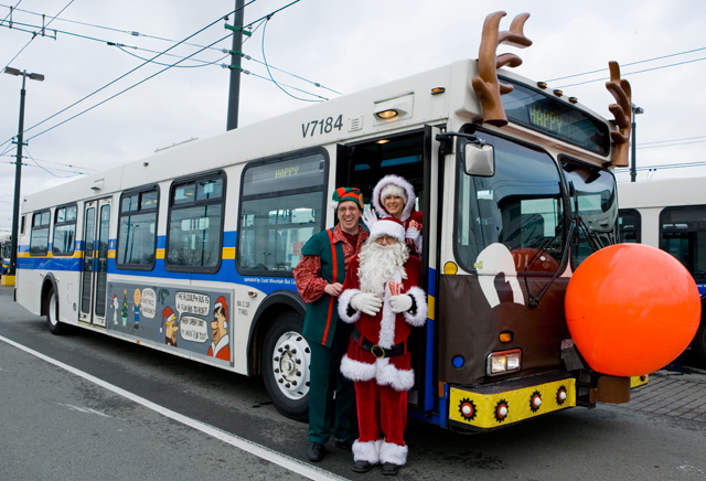 Santa, Mrs Clause, Sparky the elf and the Reindeer bus!