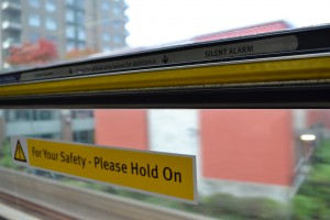 The 'yellow strip' silent alarm found on every window on SkyTrain