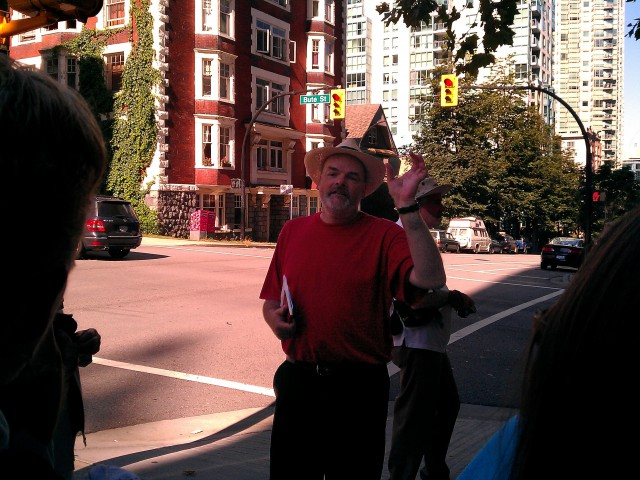John Atkin leading a walk on Eveleigh St in Vancouver Photo courtesy of Wendy Cutler