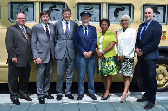 From Left to Right (Doug Allen, Interim CEO; Barry Forbes, Board Vice-Chair; Cathy McLay, CFO and Executive Vice-President, Finance and Corporate Services; Sandra Hentzen Executive Vice President, Human Resources; Angus MacIntrye, Retired Bus Operator