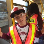 Lucas showing us his I Love Transit SWAG