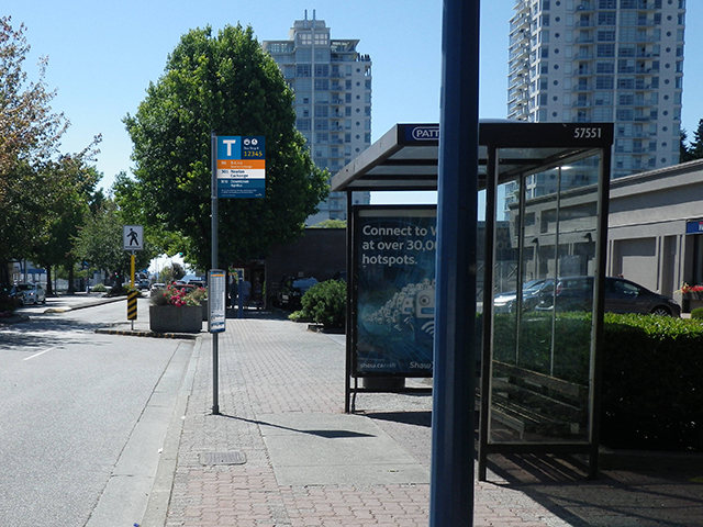 A wayfinding expert's rendering of a new bus stop sign and scheduling panel