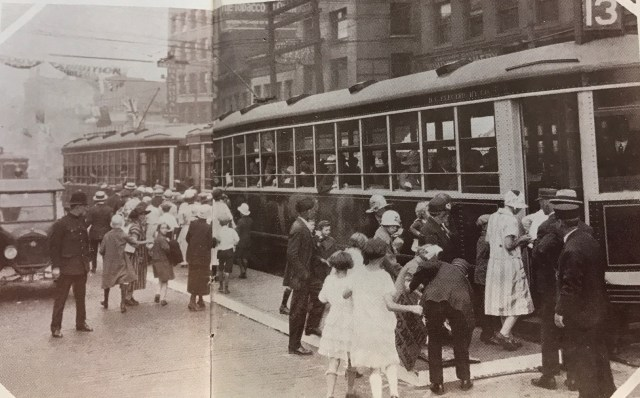 "Two-car streetcar ""trains"" ran on main Vancouver routes from 1927 to the late 1940s"