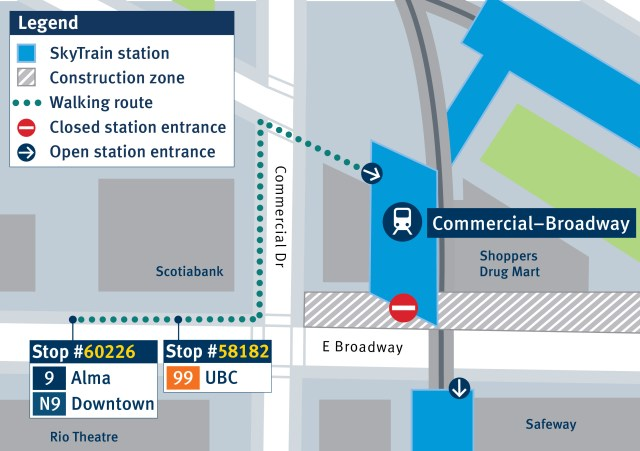 Temporarily relocated bus stop locations for the 9 and 99