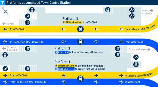 Lougheed Town Centre Station platform diagram