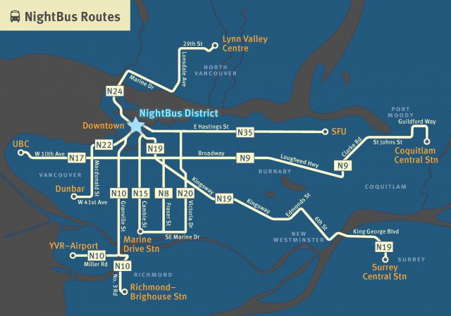 NightBus District and Route Map